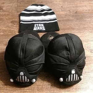 Star Wars Darth Vader bedroom slippers and hat